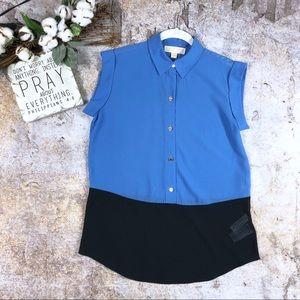 Michael Michael Kors 2 tone blue tunic blouse Sz S